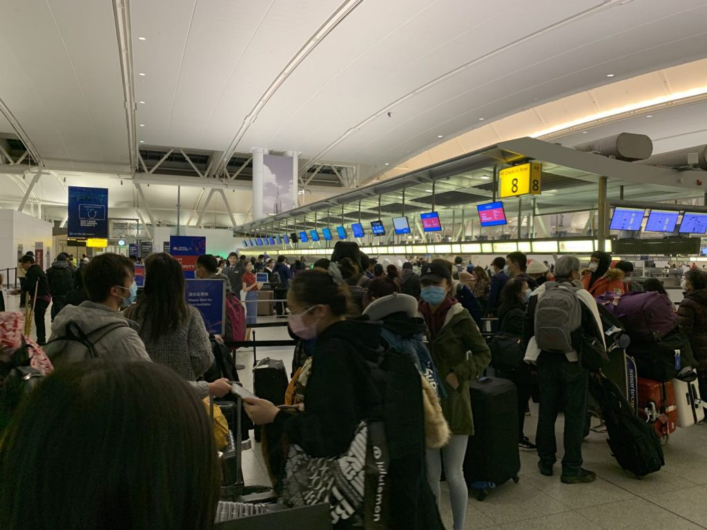 Chinese citizens prepared to board the flight home at JFK airport in New York City