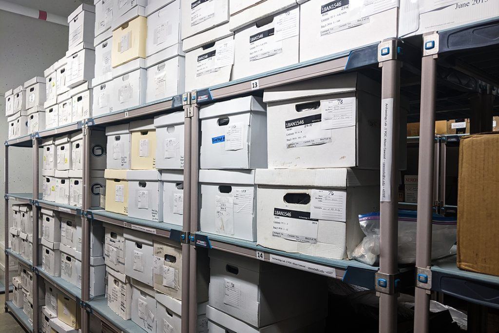 Cardboard boxes filled with artifacts.
