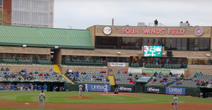 The South Bend Cubs play their Opening Day game against the Quad Cities River Bandits at Four Winds Field.