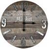 Reloj De Pared Redondo De Madera Granja Color Gris Y Marrón Home Nature