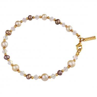 Pulsera En Acabado Dorado Con Perlas Cristal Facetado Emanuel