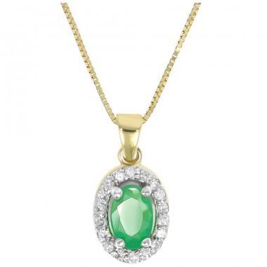 Dije Oro Amarillo Con Esmeralda Oval Y Diamantes Nadav