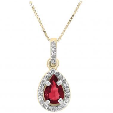 Dije Oro 14 K Con Rubí Y Diamantes Nadav