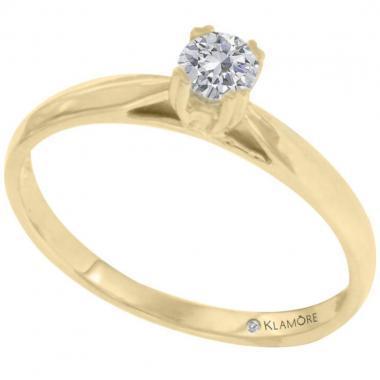 Anillo Solitario Oro Amarillo 15 Puntos De Diamante Claud Klamore