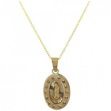 Cadena con Medalla ovalada Virgen de Guadalupe de 14 K  Villalpando