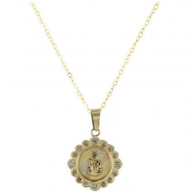 Cadena con Medalla de San Benito de 14K Villalpando