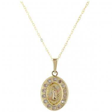 Cadena con Medalla Virgen de Guadalupe de de 14 K Villalapado