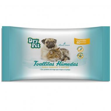Toallitas Limpiadoras P/Perro Y Gato 40 Pzas Dry Pet Mod. Fl7165