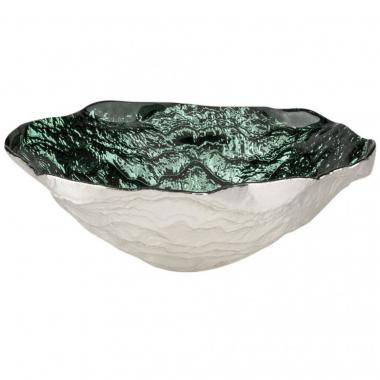 Bowl Grande Ondule Color Verde Con Plata10971 Sharda