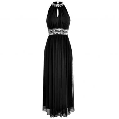 898c2810c Vestido Largo Bordado En Cuello Y Cintura Nikki Italy