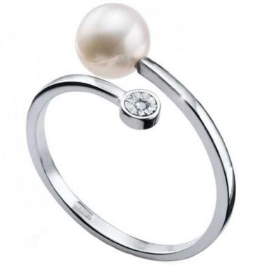 Anillo Pearly Oro Blanco 14k Fianelli