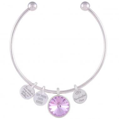 Pulsera Memoir Rodio Swarovski Color Violeta Forever Crystals