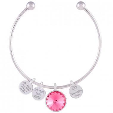 Pulsera Memoir Rodio Swarovski Color Rosa Forever Crystals