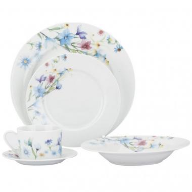 Vajilla Porcelana Flores De 20 Piezas