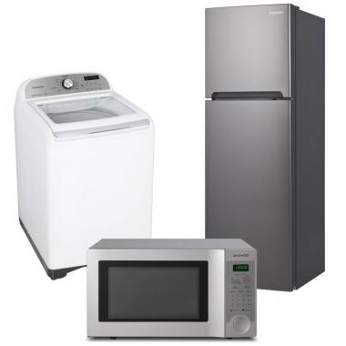Paquete Refrigerador 9P3, Lavadora 17 Kg, Microondas 1.1P3