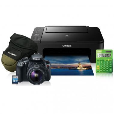 Cámara Canon T6 Ef-S 18-55,Kit Impresora, Zoom pack, Sd 16gb Y Calculadora