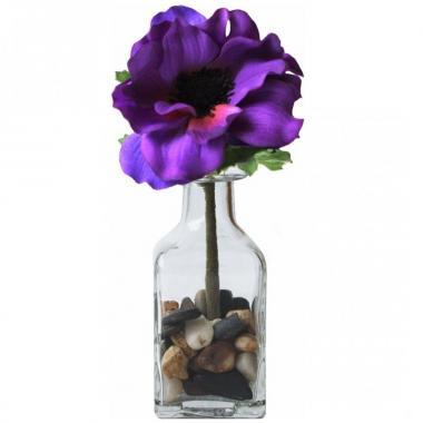 Arreglo De Anemona Violeta En Botella De Cristal