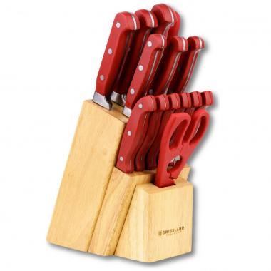 Block 15 Piezas Cuchillo Acero Rojo Swissland