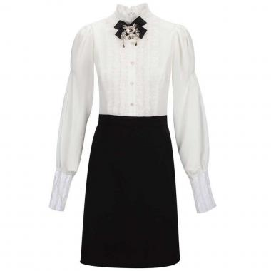 Vestido Combinado Aplicación De Moño C2c