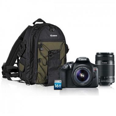 Kit Cámara Canon T6 con Lente 18-55  55-250, Maleta y SD 16GB