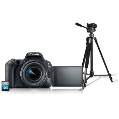 Kit Cámara Canon SL2 con Lente EF-S 18-55, Tripié y SD