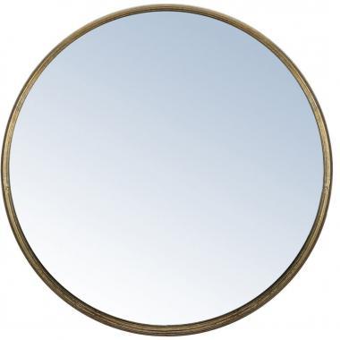 Espejo De Pared Redondo Acabado Metálico Gris Home Nature