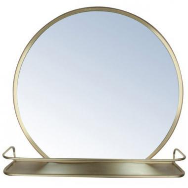 Espejo Redondo De Metal Con Estante Acabado Dorado Home Nature