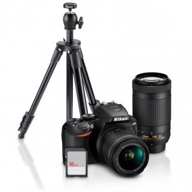 Cámara Nikon D3500 18-55/70-300 con Tripié y SD 16GB