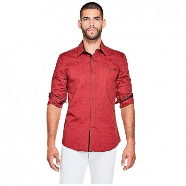 Camisa Color Rojo y Puntos en Blanco G By Guess