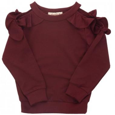 Suéter Con Hombro Descubierto Color Rojo Obscuro