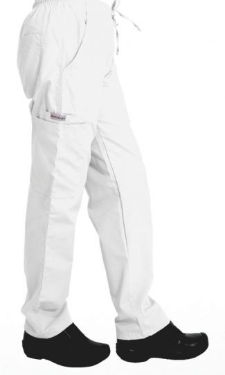 White cargo scrub pants