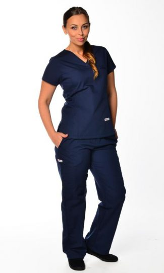 navy womens fit solid scrub top and cargo pants bundle