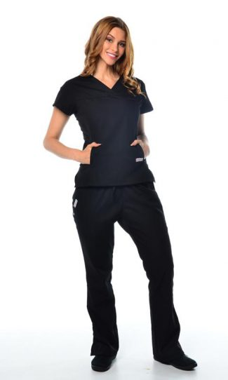 black womens fit solid scrub top and cargo pants bundle