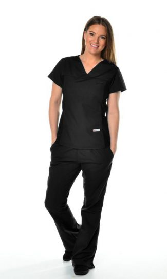 black womens fit black spandex scrub top and cargo pants bundle