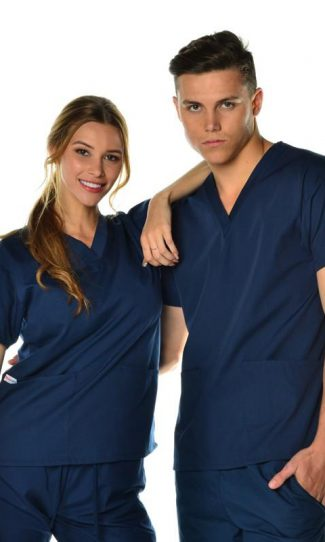 unisex 3 pocket scrub top - navy coloured