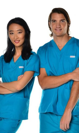 unisex 4 pocket scrub top - teal colour