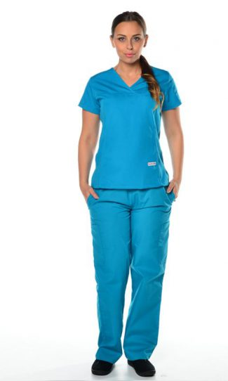 teal womens fit solid scrub top and cargo pants bundle
