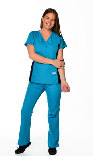 teal womens fit black spandex scrub top and cargo pants bundle