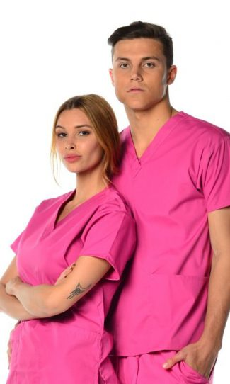 unisex 3 pocket scrub top - pink coloured