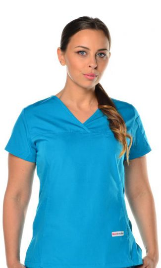 womens fit solid scrub top - teal colour