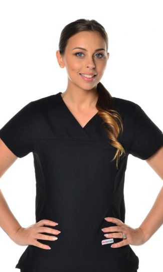 womens fit solid scrub top - black colour