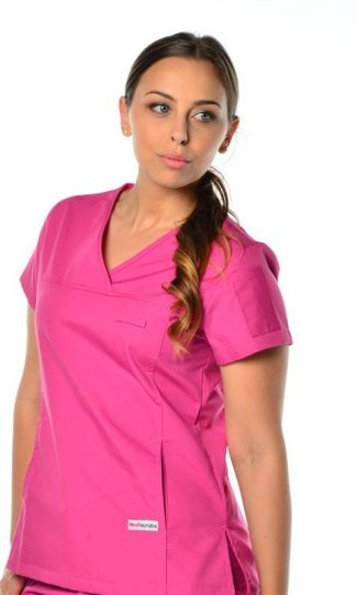 womens fit solid scrub top - pink colour