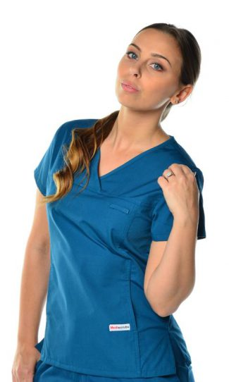 womens fit solid scrub top - caribbean colour