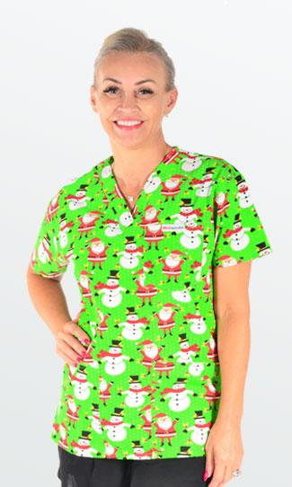 Very Merry - 4 pocket unisex xmas scrub top