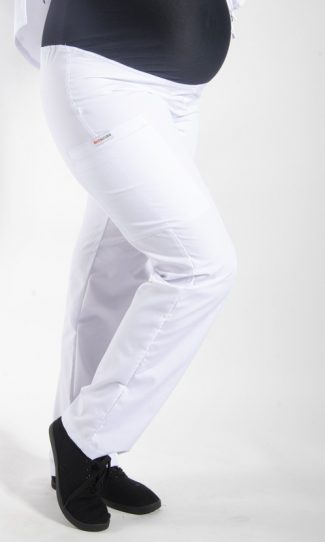 WHITE coloured Maternity scrub pants with elasticated waistband