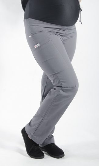 STEEL GREY coloured Maternity scrub pants with elasticated waistband