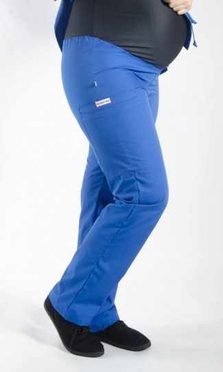ROYAL coloured Maternity scrub pants with elasticated waistband