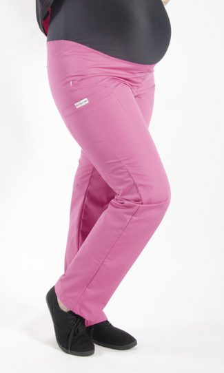PINK coloured Maternity scrub pants with elasticated waistband