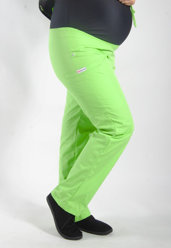 LIME GREEN coloured Maternity scrub pants with elasticated waistband