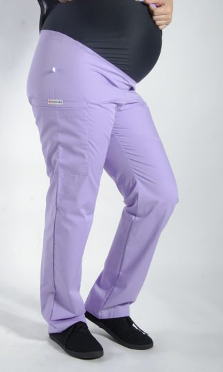 LILAC coloured Maternity scrub pants with elasticated waistband